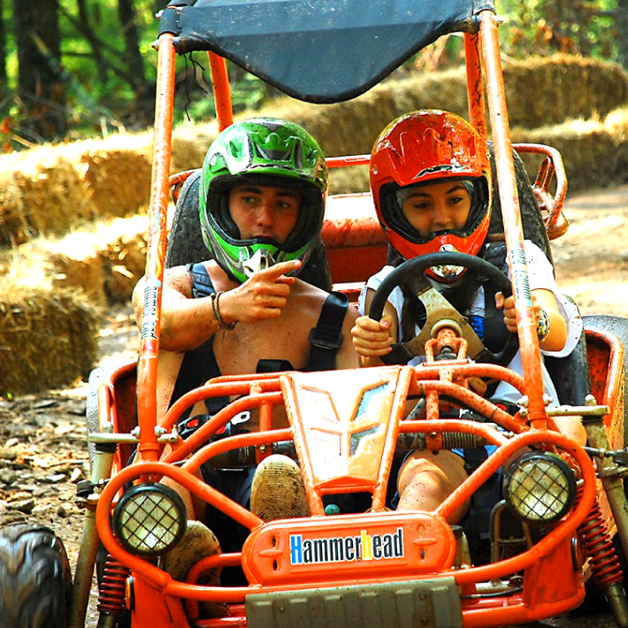 Campers in go kart