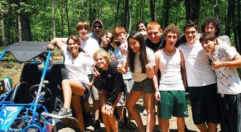 Group of campers by go kart