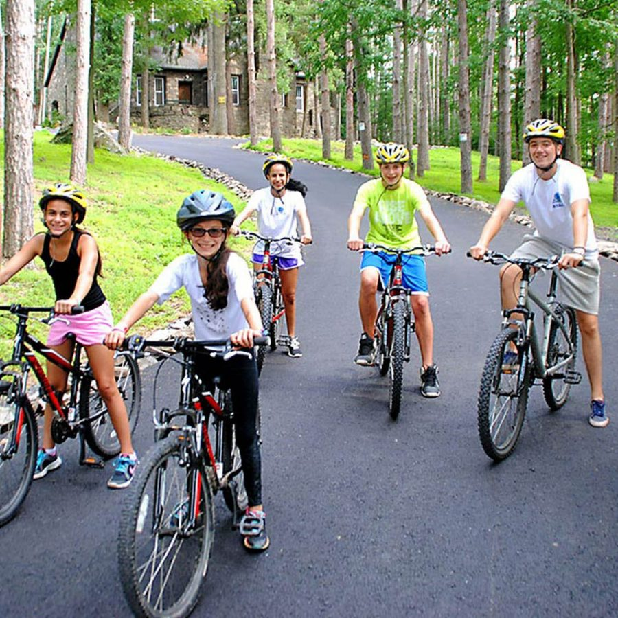 Campers on mountain bikes