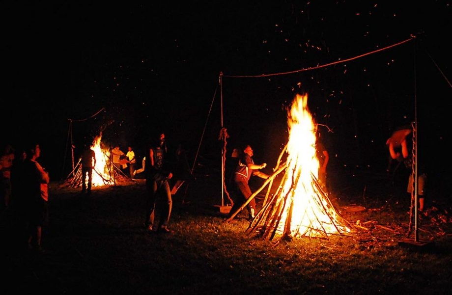 Campfire during rope burn activity