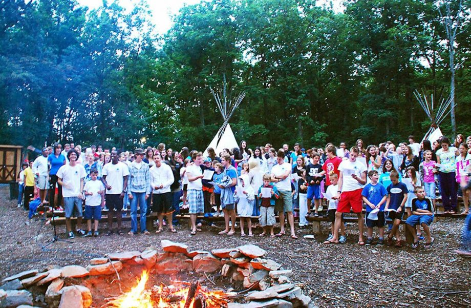 Campers gathering for tee pee event