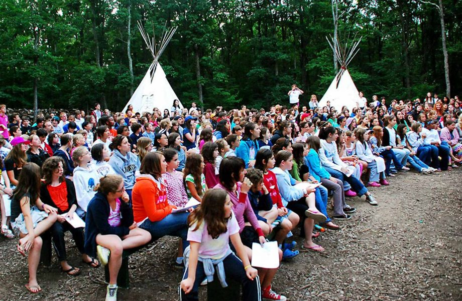 Campers gathered for tee pee event