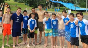Group of boys after swim activity