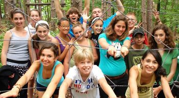 Campers at low ropes course
