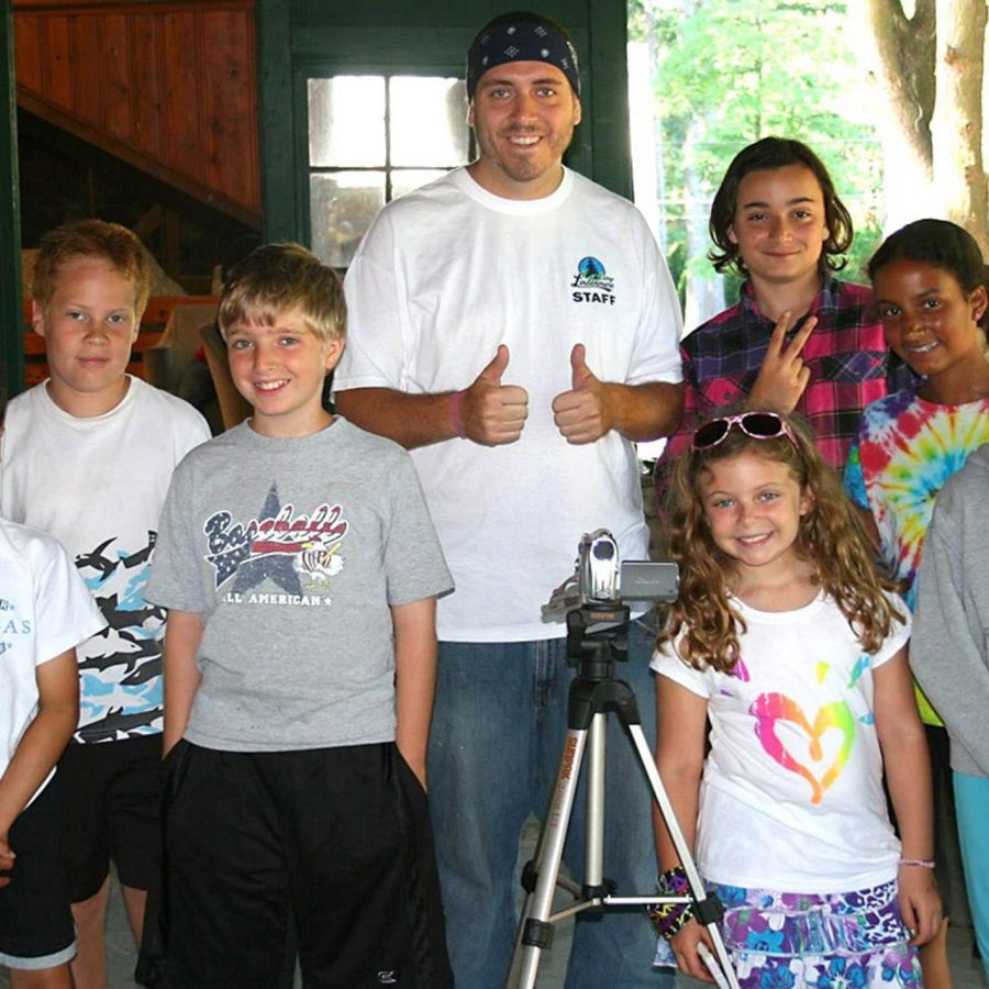 Campers with video camera